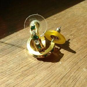 Gold half-hoop stud earrings